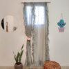 Side Ruffled Curtains Aesthetically Grey